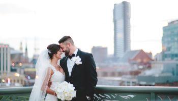 nashville skyline, bride and groom