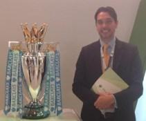 Elliott King with Premiership Football Trophy, GITEX Dubai, 2013