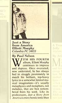 Elliott Murphy - Just A Story From America 1977 Rolling Stone Review