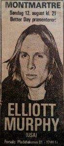 Elliott Murphy - Copenhagen Poster 1979