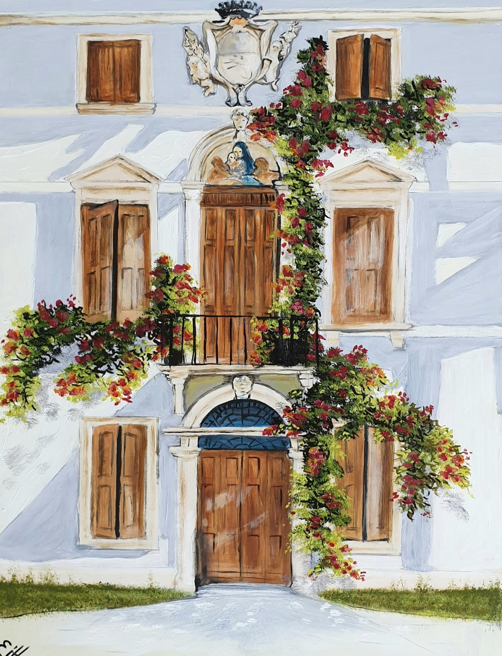 "A grand house in Scala on the Amalfi Coast in Italy, with rambling flowers adorning it's façade. This is a 9x12"" (A4) premium quality giclée art print from an original oil painting by UK artist Ellisa Hague. Other pieces in this series are available, please visit www.EllisaHagueOriginal.com or visit the Etsy Shop to view them."