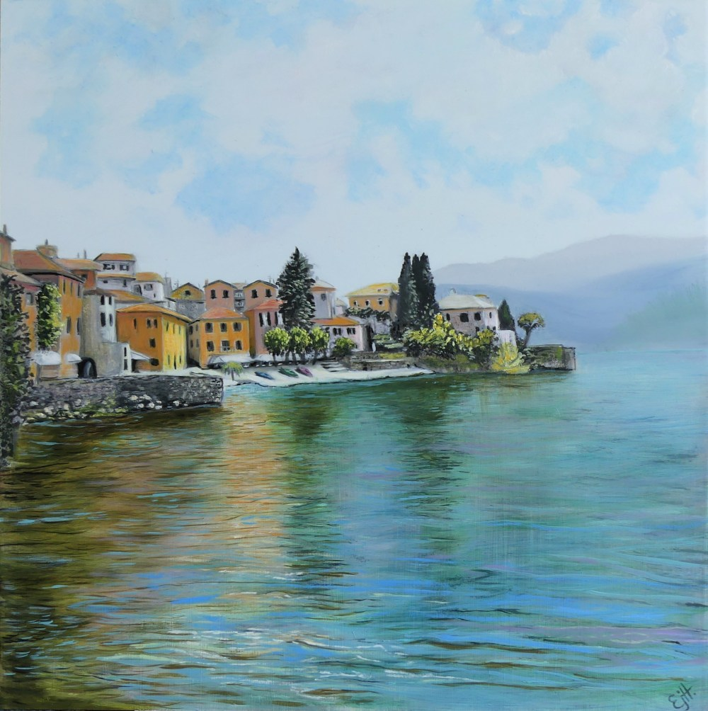 original oil painting of lake como