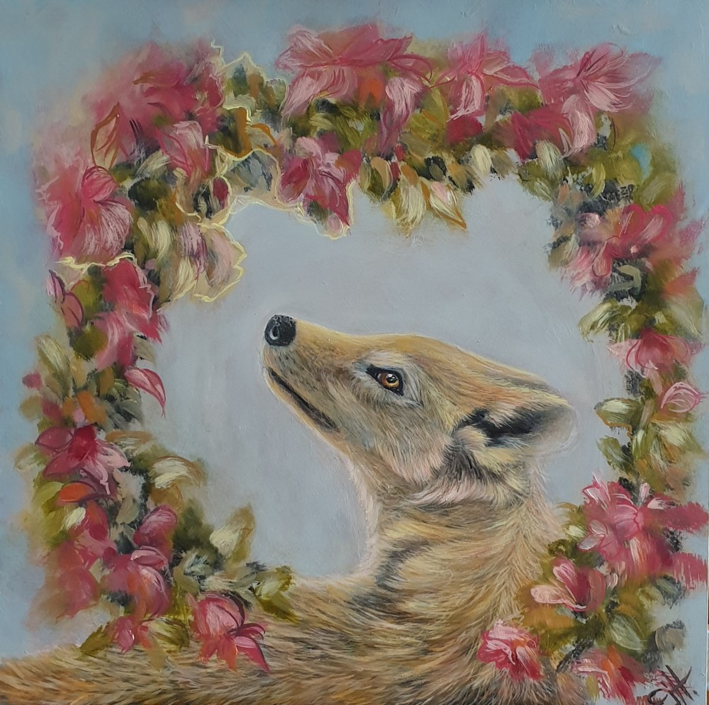 Lupus wolf original oil painting from Fairy Tale series