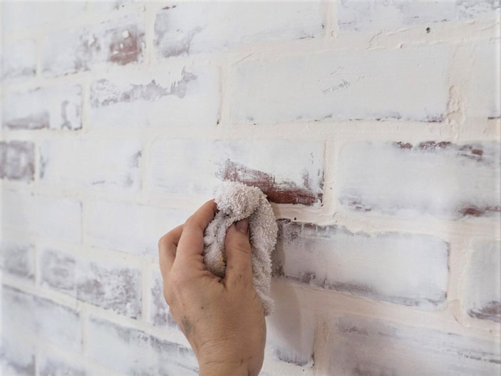 Diy Faux White Brick Wall