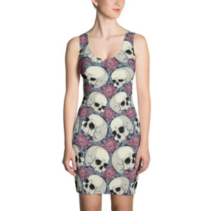 elliz clothing skulls and roses pattern bodycon fitted dress pink