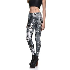 Elliz Clothing Grey SkullsxFlowers sexy Leggings ajustados