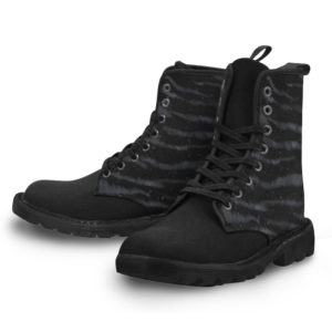 Elliz Clothing Darkness Zebra Print Lace-up Gothic Ankle Boots