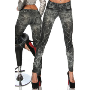 Elliz Clothing Grey Jeggings Jeans Print Leggings