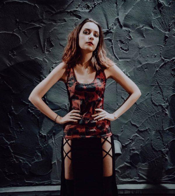 Elliz Clothing Jen Janet Skulls Red Gothic Tank