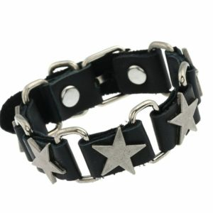 Elliz Clothing Metal Stars Genuine Leather Bracelet