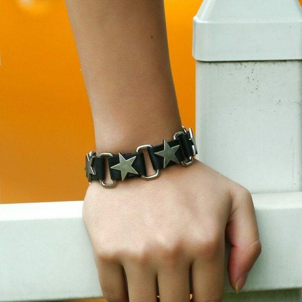 Elliz Clothing Metal Stars Genuine Leather Bracelet