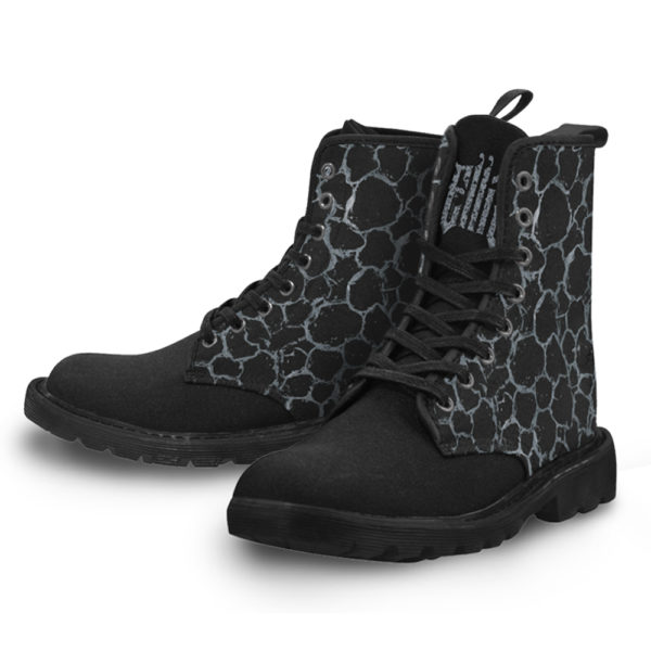 Elliz Clothing Silver Pattern Print Lace-up Gothic Ankle Boots