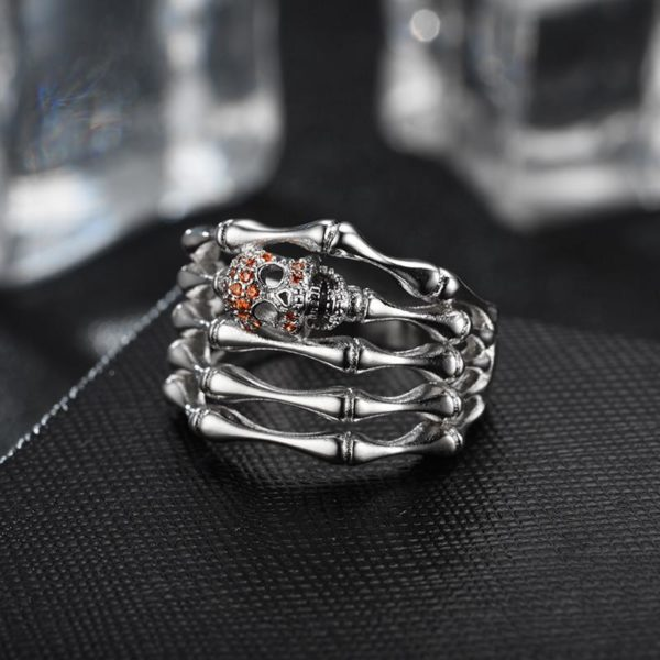 elliz clothing womens Red Crystals Skull Silver Skeleton Ring