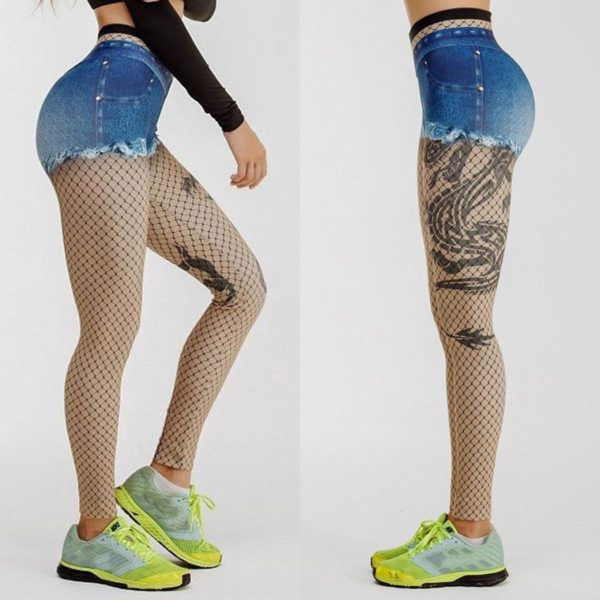 Elliz Clothing Denim Shorts and Fishnet Printed Illusion Leggings