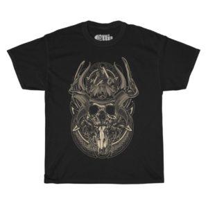 Elliz Clothing Caveira Samurai Camiseta de Algodão Pesado