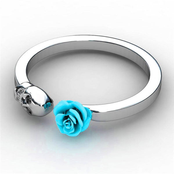 Elliz Clothing Skull+Rose Stainless Steel Ring Blue