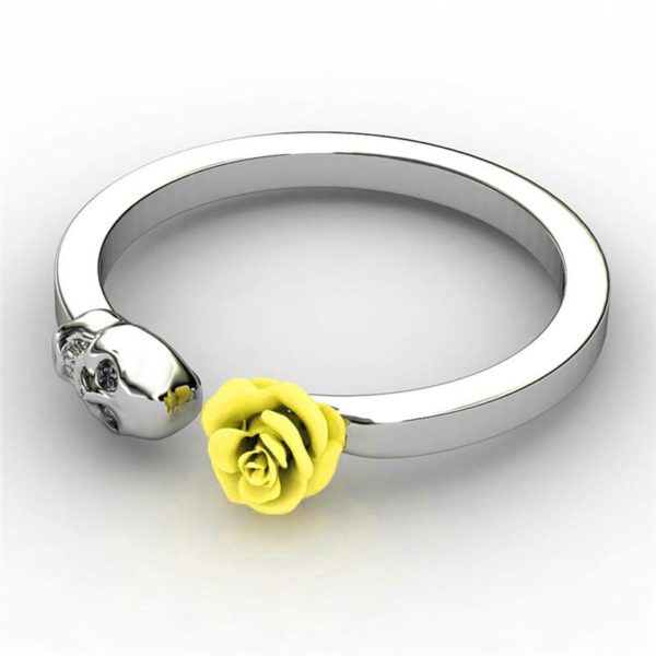 Elliz Clothing Skull+Rose Stainless Steel Ring Yellow