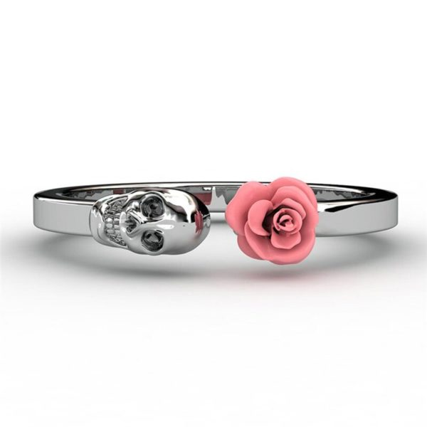 Elliz Clothing Skull+Rose Stainless Steel Ring pink