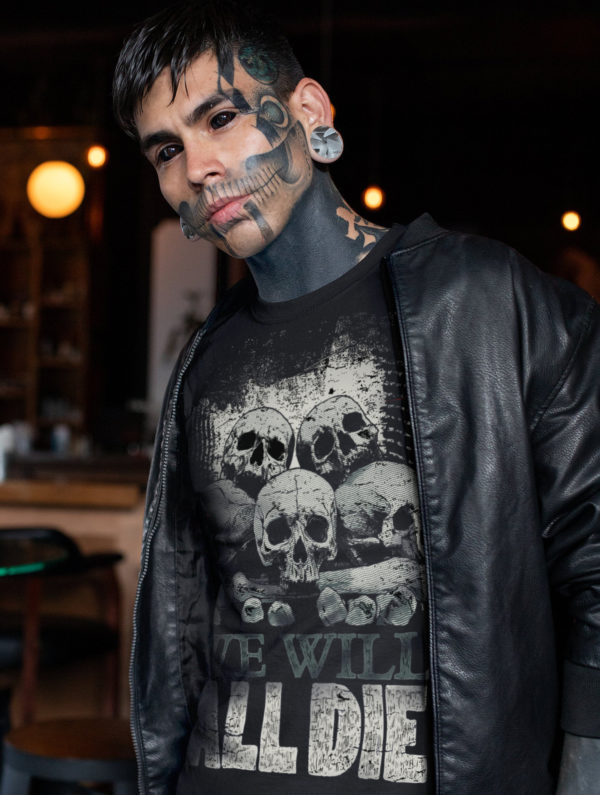 Elliz Clothing We Will All Die Unisex Skulls graphic T-shirt