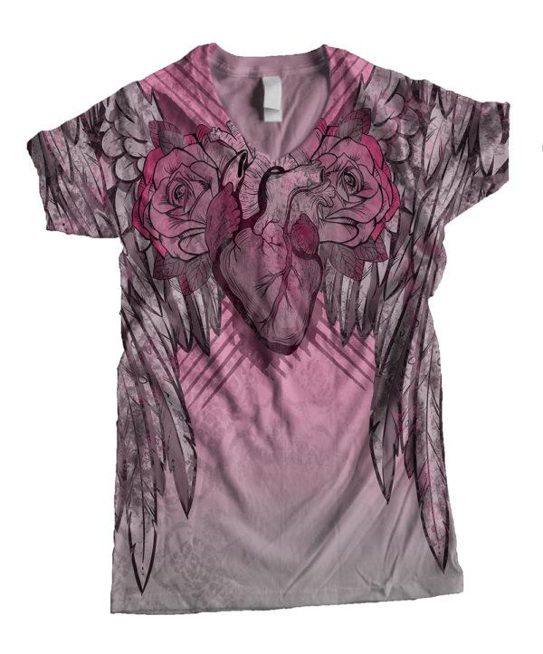 Elliz Clothing Winged Heart Pink V-neck