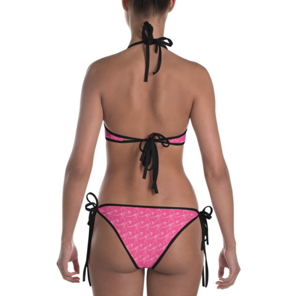 T-Rex Skeleton Pattern Reversible Bikini Pink