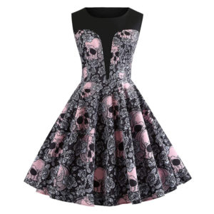 Halloween Vintage Skulls Floral A-line Rockabilly Dress.jpg