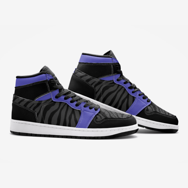 Elliz Clothing Purple/Dark Grey Zebra Print Retro Basketball Sneakers