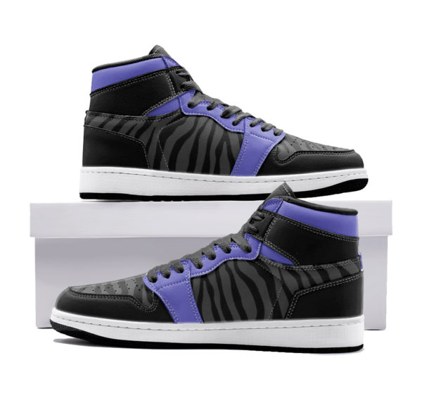 Elliz Clothing Purple Zebra Print Retro Basketball Sneakers
