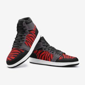 Elliz Clothing Red/Grey Zebra Print Retro Basketball Sneakers