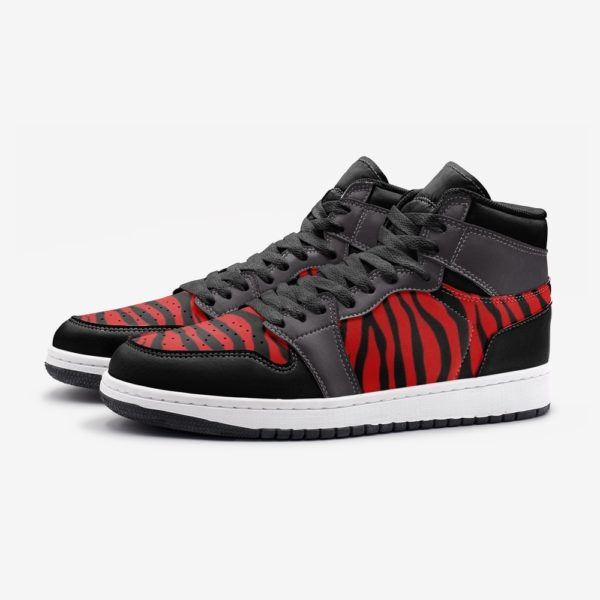 Elliz Clothing Red/Grey Zebra Print Retro Basketball Sneakers