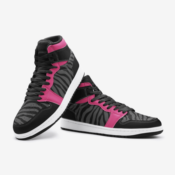 Elliz Clothing Pink/Dark Grey Zebra Print Retro Basketball Sneakers