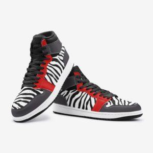 Elliz Clothing White/Red Zebra Print Retro Basketball Sneakers