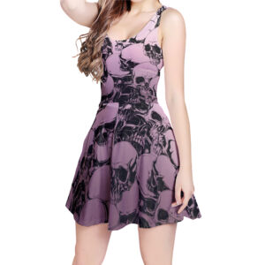 Elliz Clothing Purple Skulls Pastel Goth Skater Dress