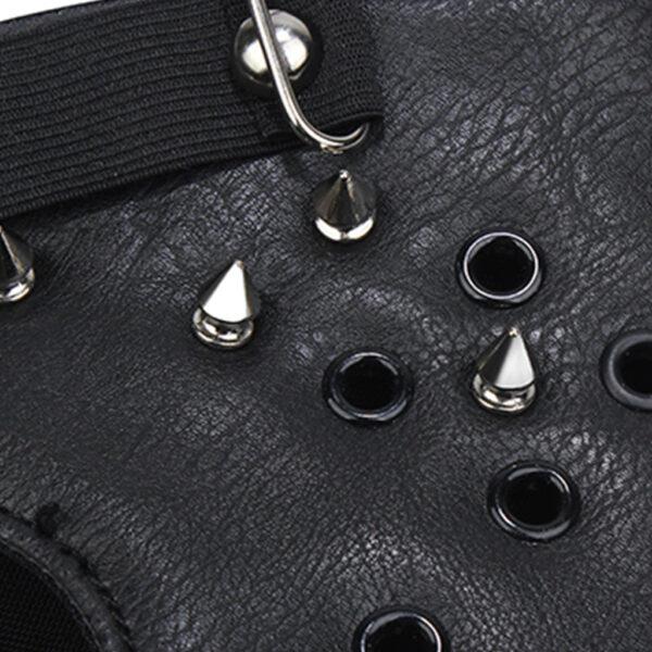 Elliz Clothing Gothic Studded Leather Face Masks Rivets