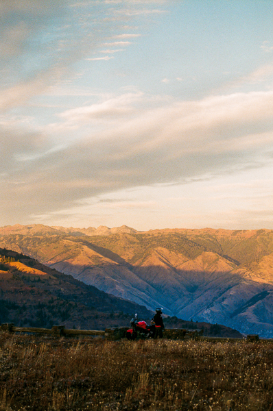 a landscape of the sunset in hells valley idaho