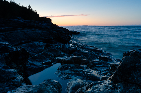 a sunset looking over lake huron