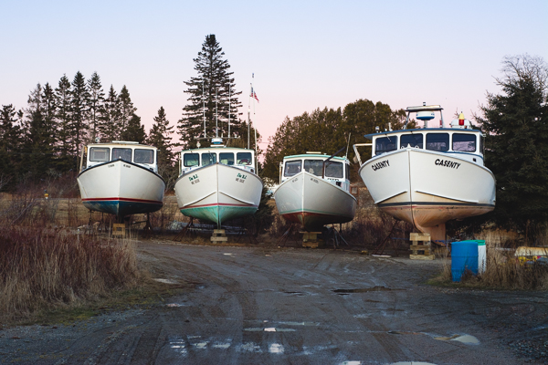 four lobster boats dry docked for the winter