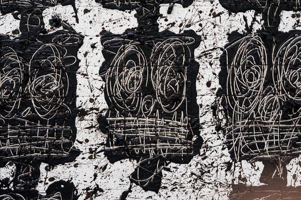 a close up of Rashid Johnson's artwork