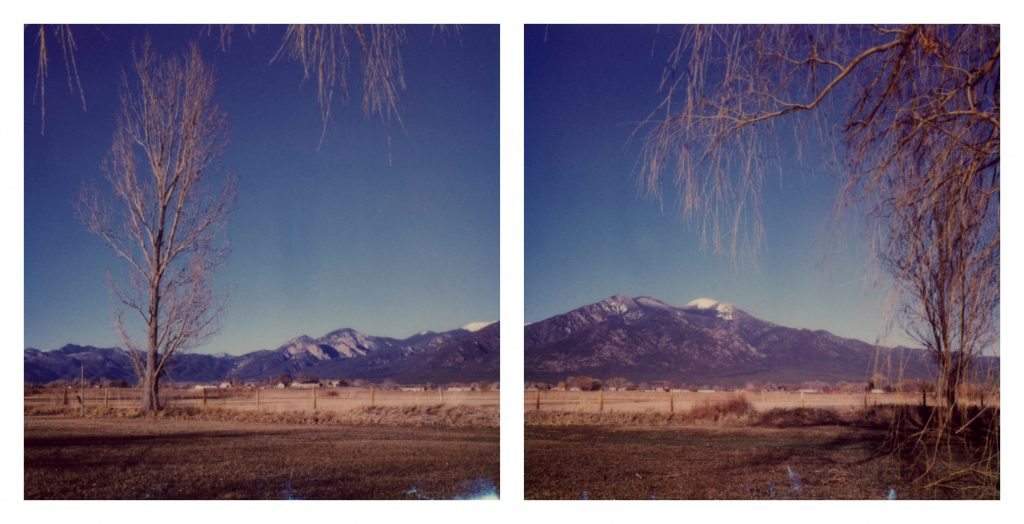 A diptych landscape of a mountain in Taos NM.