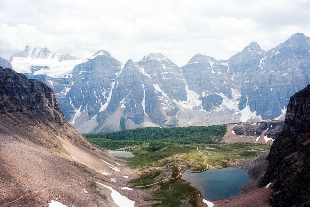 A landscape photograph from Banff National Park, looking over Lake Minnestimma in Alberta Canada. Shot on Kodak Ektar with my Nikon F5.