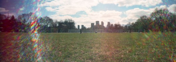 A panoramic image of a park in the spring.