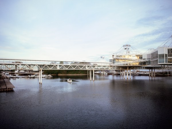 A photograph of Ontario Place shot on Fuji Velvia 100 with a Bronica ETRSi processed and scanned by Downtown Camera.
