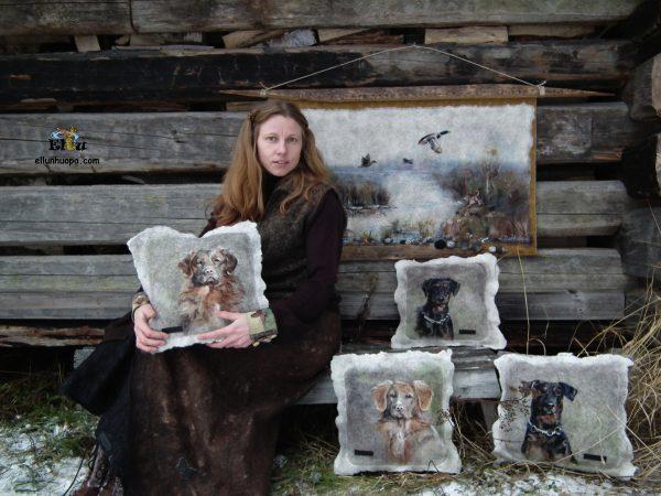 Elena Bondar, ellunhuopa, felting, art felt, huovutus, huopatuotteet, lahjat, dog, felt dog, wool art, artist, Finland handmade, käsityö, taidehuopa, tehty suomessa
