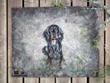 felt work, felting, dog portrait, custom pet photos