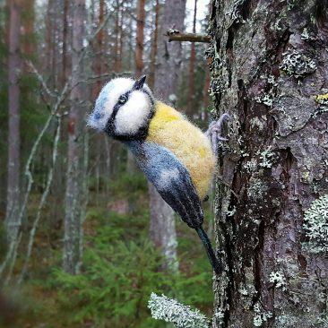 talvilinnut askartelu, huovutus, huovutettu lintu, neulahuovutus ohje