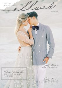 Ellwed Magazine Cover with a couple kissing in Milos on the rocks