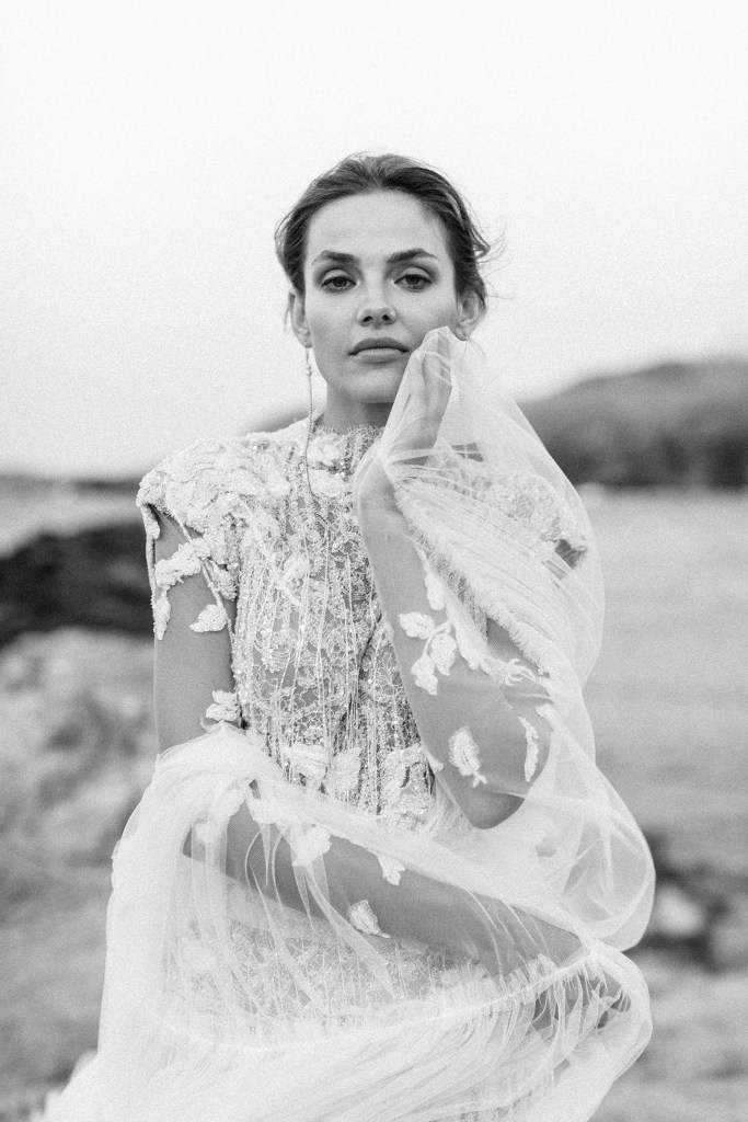 Mairi Maprola dress Love Story in Mykonos bride in black and white