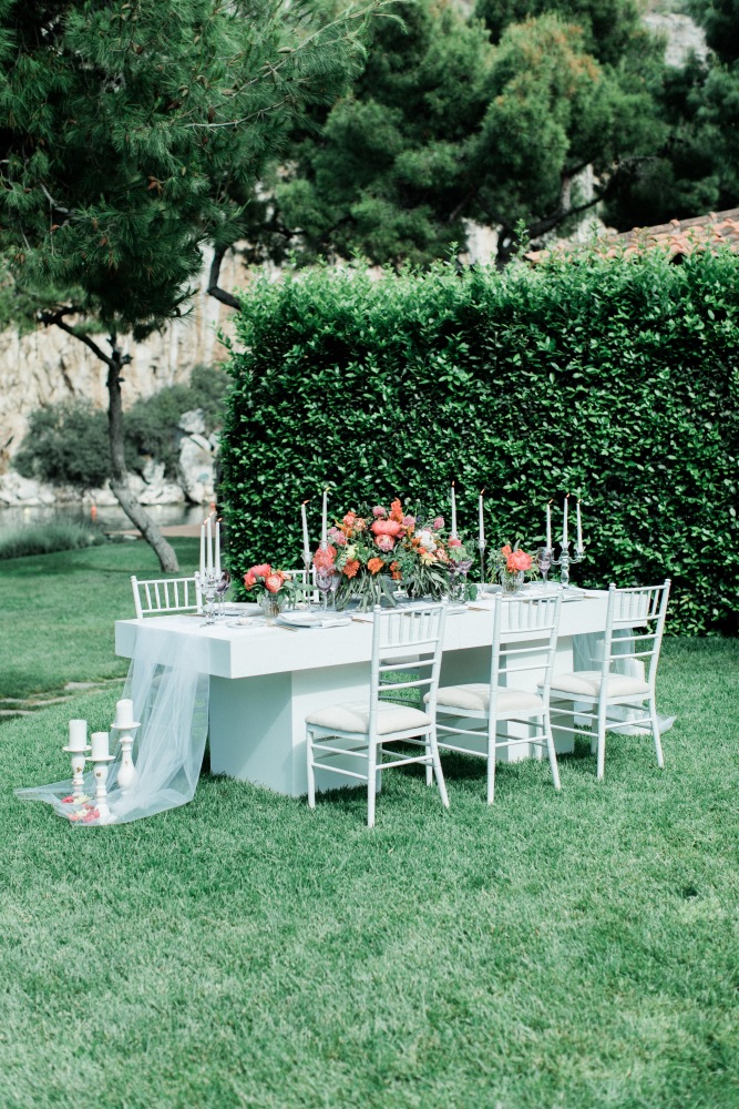 Wedding table near the lake
