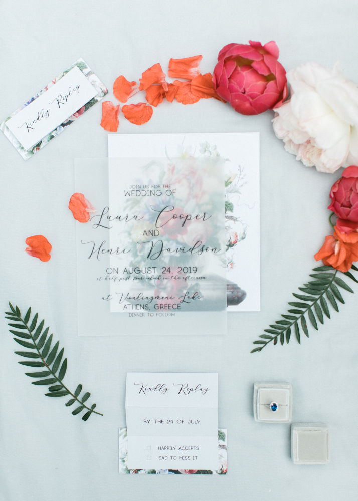 SUMMER CORAL LAKESIDE WEDDING coral flowers stationery
