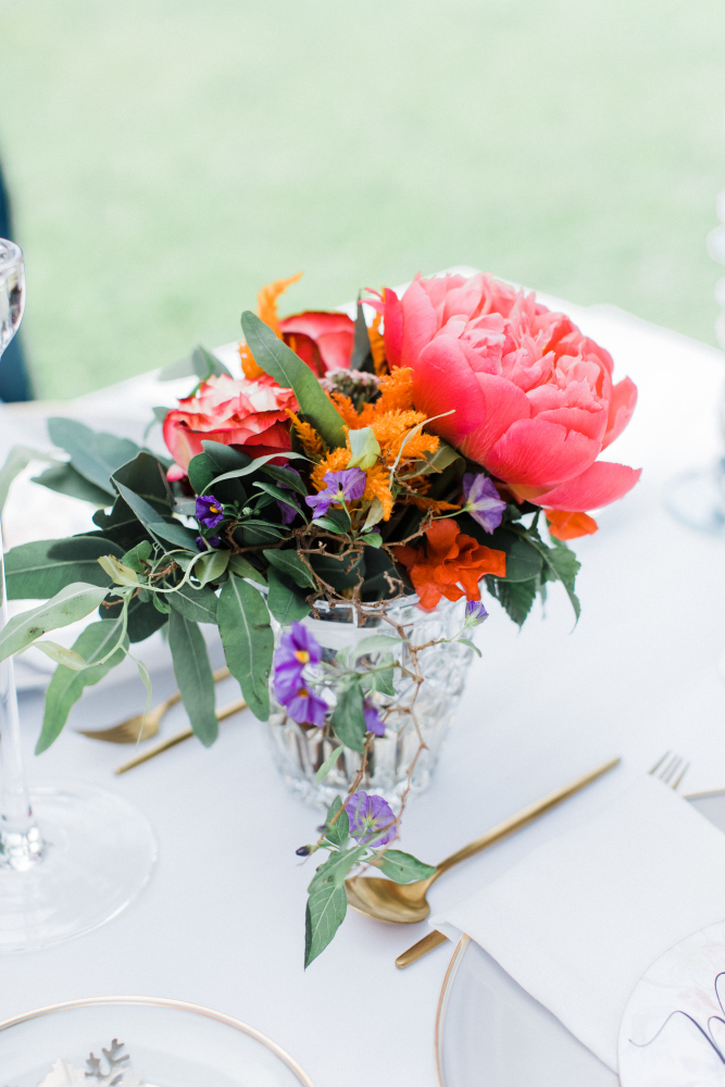 Coral Floral bouquet for summer wedding